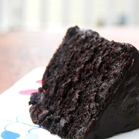 The Best Double Chocolate Cake with Black Velvet Icing