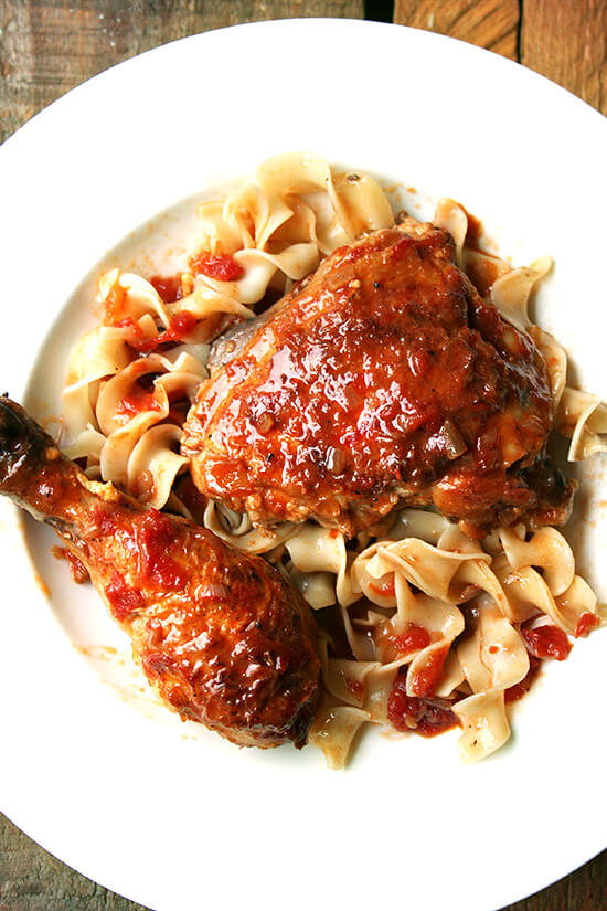 Chicken au vinaigre, a classic French preparation of braised chicken, is all about the sauce, a rich concentration of shallots, crushed tomatoes, mustard and reduced sherry and sherry vinegar. I love serving this with egg noodles, which soak up the delicious sauce so nicely, but a natural (perhaps even more delicious) alternative to the noodles is a hunk of bread. That time of year has certainly arrived, when cleaning dinner plates with crusty bread is more than acceptable. // alexandracooks.com