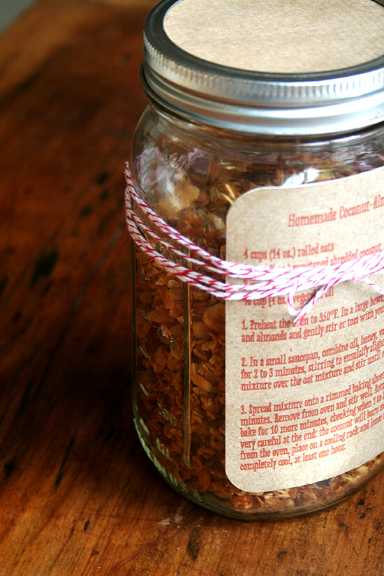 homemade granola with recipe card