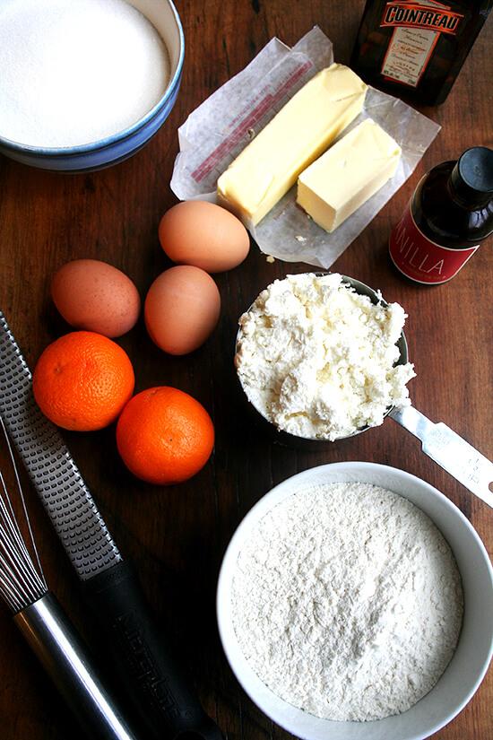 ingredients for orange-ricotta loaf