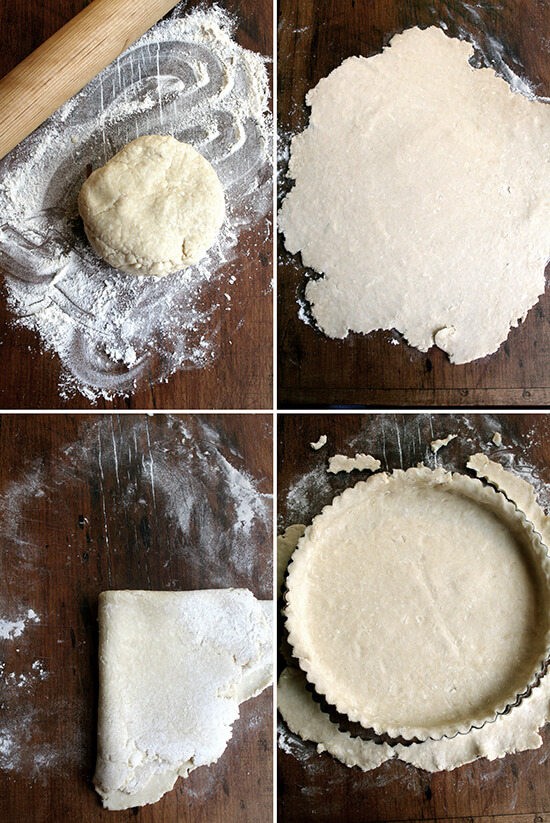 rolling out tart dough