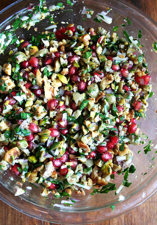 This pomegranate salad recipe comes from the book Turquoise by Greg and Lucy Malouf, which my aunt introduced to the family last winter when she served this stunning salad at a dinner party. The myriad textures and sweet-salty-hot dressing make this salad irresistible. // alexandracooks.com