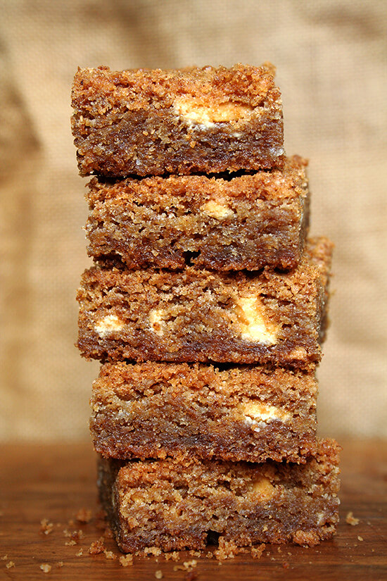 A stack of brown butter blondies.