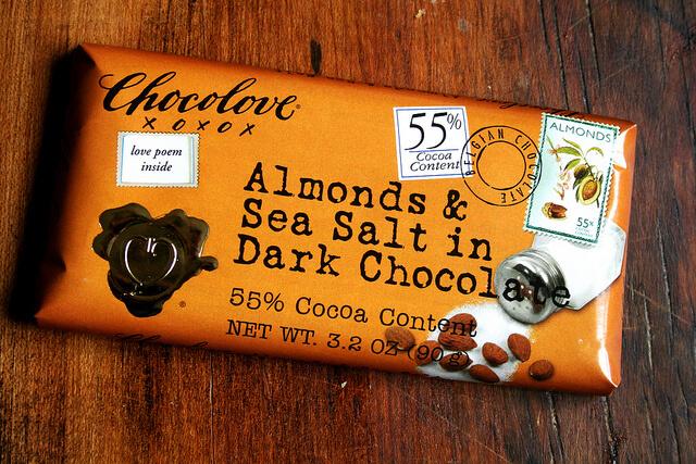 chocolove bar with almonds and sea salt