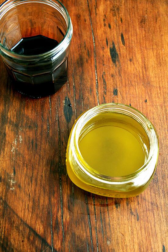 basil oil & balsamic caramel