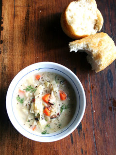Loaded with vegetables — carrots, potatoes, onions and cabbage — a little bacon and a touch of cream, this cabbage soup is definitely hearty, best served on a cold winter day with crusty bread and nothing more. For me, it's the dill and caraway seeds that make it unlike any other I have tasted, the caraway seeds in particular imparting a lovely yet subtle flavor. // alexandracooks.com