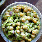 A jar of cilantro-lime chickpeas.