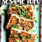 A platter of sesame crusted tofu.