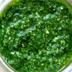 A jar of basil pesto.