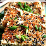 A platter of sesame-crusted tofu.