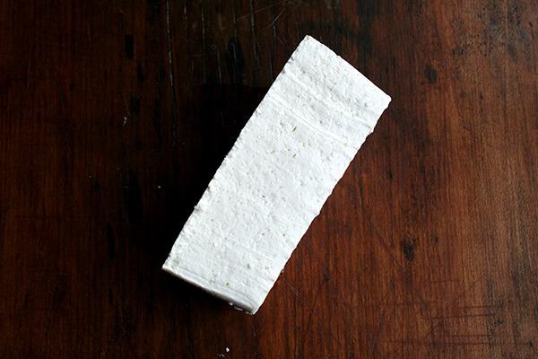 tofu block — this gets cut into thirds