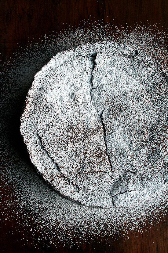 Containing no flour and leavened only by whipped egg whites, this chocolate almond torte is at once light, rich and moist. Ground almonds give it a wonderful texture throughout, and a splash of Grand Marnier flavors it subtly with orange. It is perfectly sweet, and when it bakes, that most-delicious, brownie-like, paper-thin crust forms on the top-most layer. It is every bit elegant the finale of a special occasion should be, Valentine's Day or otherwise. // alexandracooks.com