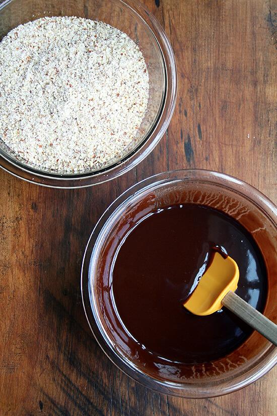 chocolate & ground almonds