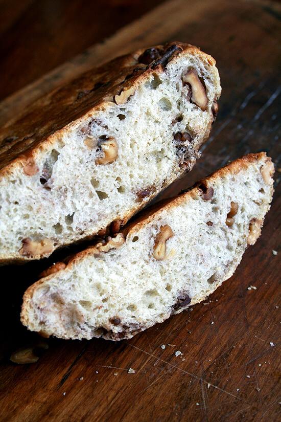 sliced walnut bread