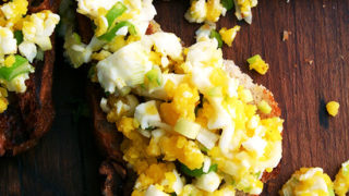 Toast with hard boiled eggs bagna cauda also walnut bread