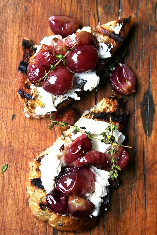 roasted grapes with homemade ricotta