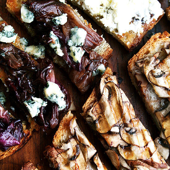 3 Simple Tartines: Mushroom; Radicchio & Gorgonzola; Fresh Ricotta // Plus A Few More Ideas for Oscar Night