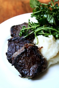 Venison Backstrap with Apple & Turnip Purée and wilted Watercress
