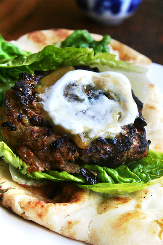 Seasoned with curry powder and cumin as well as caramelized onions and a dollop of chutney mustard, these lamb burgers might just be what you need to re-awaken those palates in this uninspiring in-between-seasons period. Serving the burgers in half pieces of warm naan with some crisp lettuce makes for a nice change from the standard burger bun. Cheese doesn't seem to fit here, but something cool and tangy like Greek yogurt is a must. // alexandracooks.com