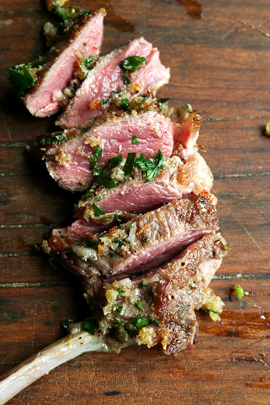 Made with shallots, bread crumbs, olive oil, capers, anchovies, parsley and thyme, this bread crumb salsa could be served with anything from pan-seared lamb chops to grilled steak. Yum. // alexandracooks.com