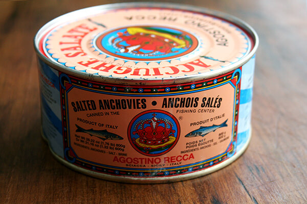 tin of salt-packed Recca anchovies