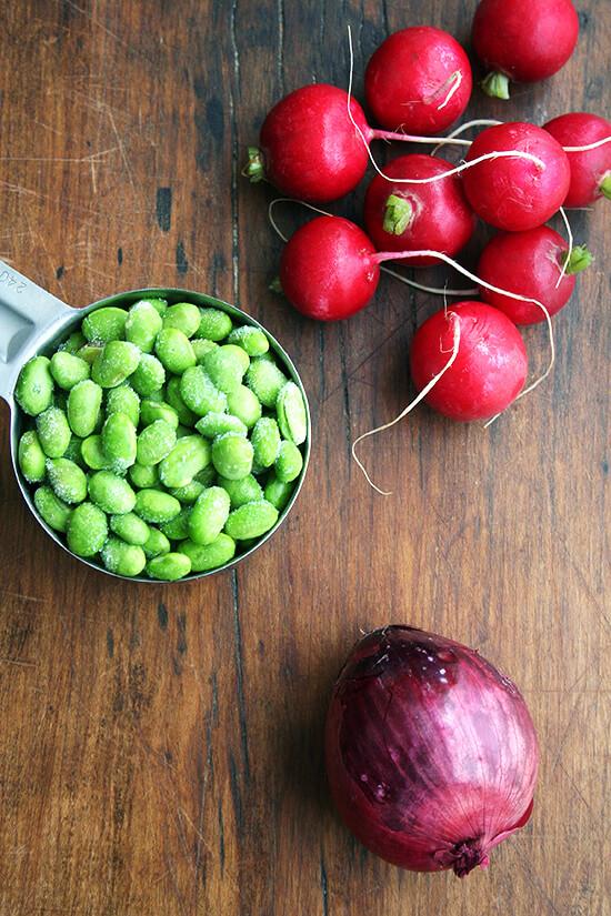 radishes, edamame & onion
