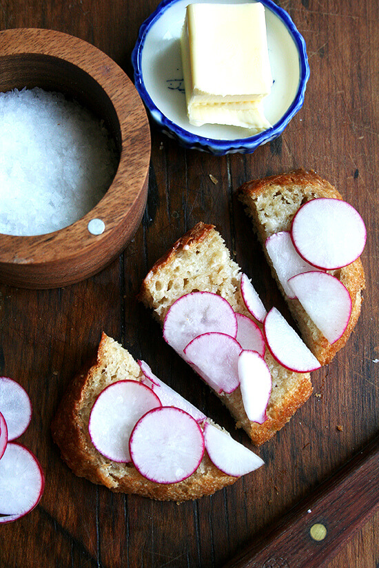 radishes with salt on buttered bread