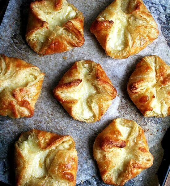 baked Ricotta Danishes on a sheet pan
