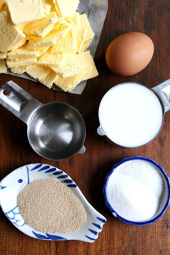 The ingredients for the food processor Danish pastry dough on a board.