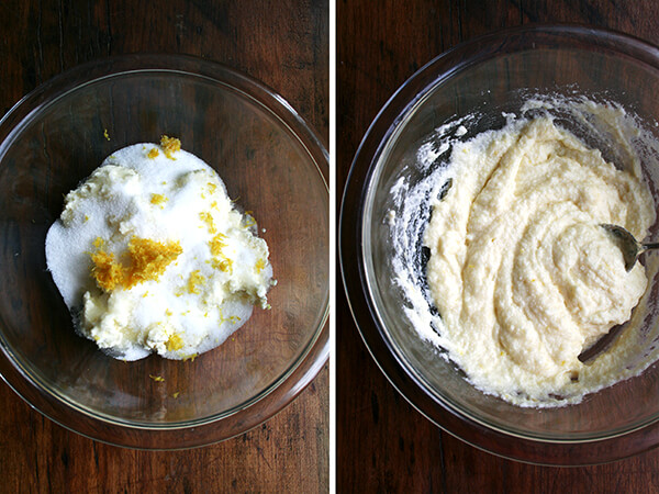 Two images: on the lef a bowl with the lemon-ricotta filling unmixed; on the right, a bowl with the lemon-ricotta filling all mixed.