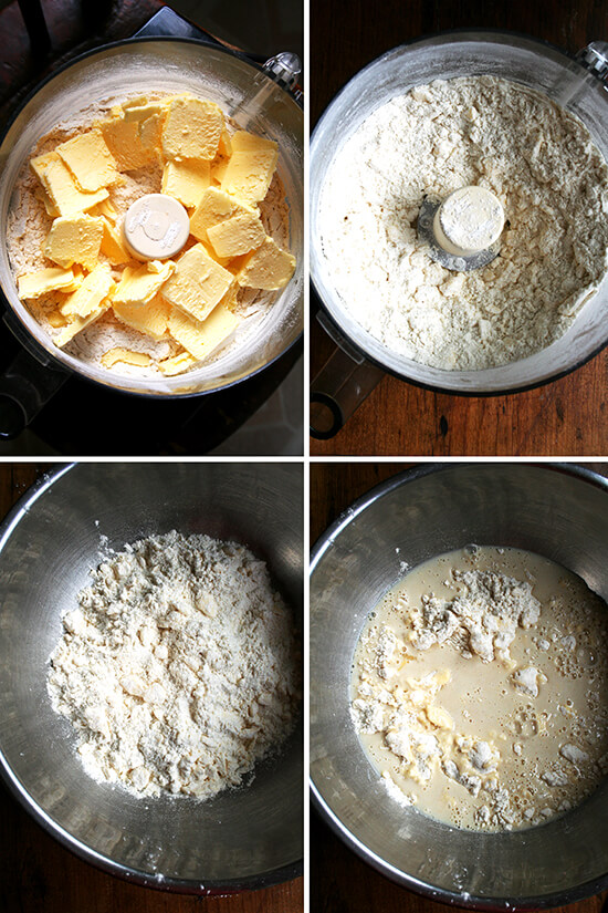 A montage of images showing how to making the food processor pastry dough.