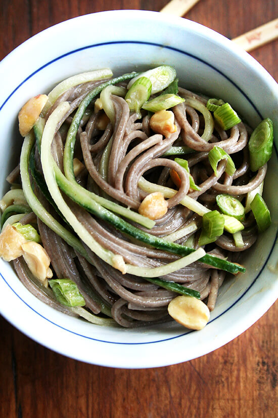 I love the simplicity of this soba noodle salad: the noodles and julienned cucumbers meld together in a peanut dressing while a handful of peanuts offers crunch. The peanut dressing is spicy, sweet, salty, and sour hitting all the sensations that make whatever it's dressing so irresistible. // alexandracooks.com