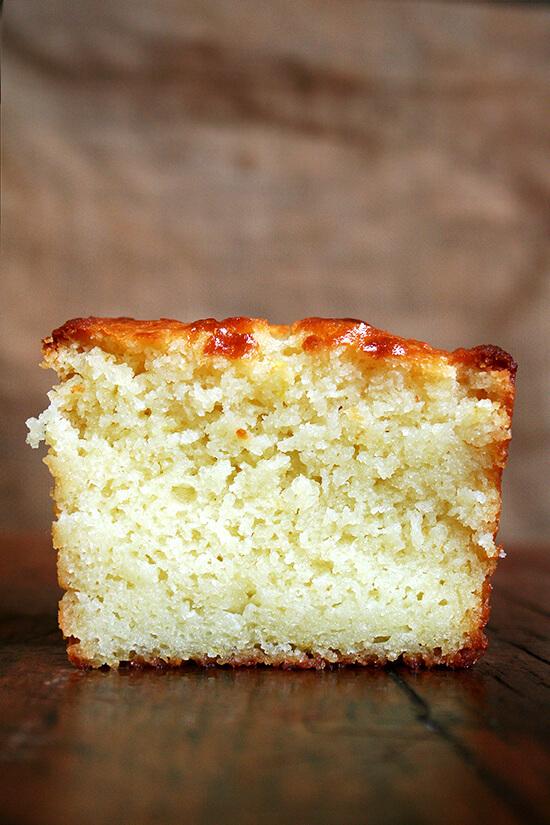 Cross-section of a slice of lemon-ricotta pound cake.