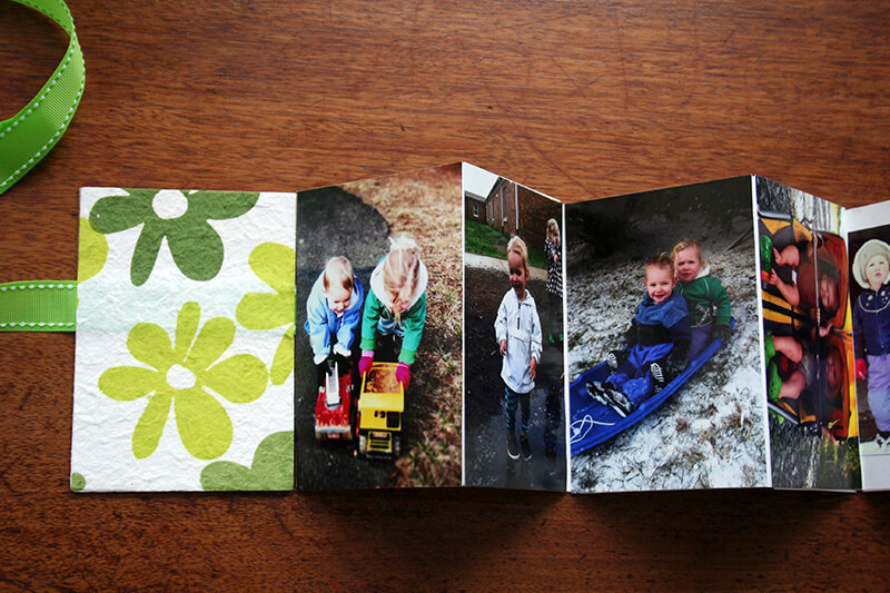 homemade accordion book, open and extended