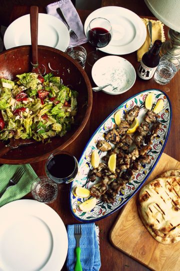 Chicken Souvlaki with Tzatziki and Cucumber-Feta Salad