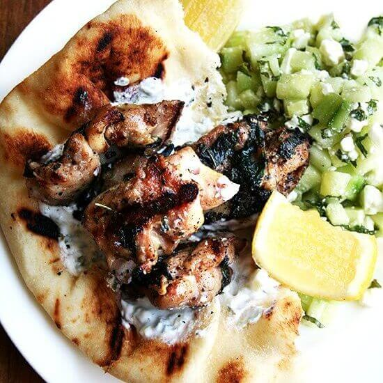 Chicken Souvlaki with Tzatziki and Cucumber-Feta Salad