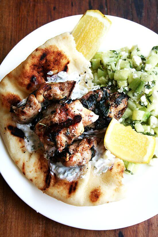 Chicken souvlaki is one of my favorite meals: grilled chicken, tzatziki, warm pita, and some sort of salad — I love a Greek salad or this refreshing cucumber-feta salad. // alexandracooks.com