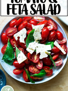 Tomato-Feta Salad on a plate.