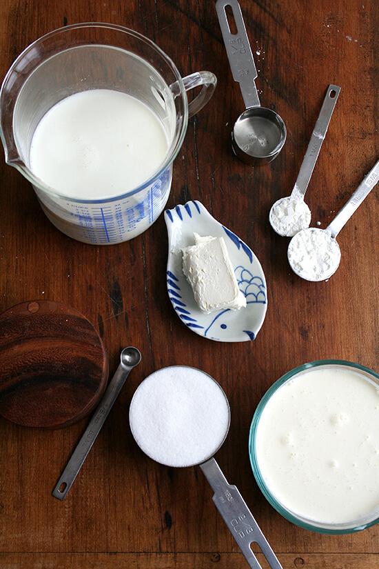 A board of Jeni's Splendid Ice cream base ingredients.