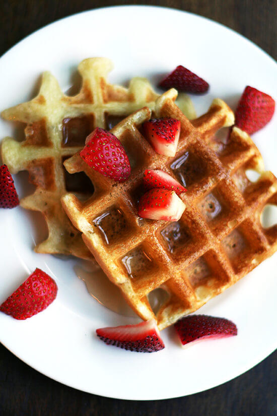 Adored for their crisp crust and crepe-like interior, these waffles are easy to make -- there is no yeast or long overnight rise and no whipped egg whites. // alexandracooks.com