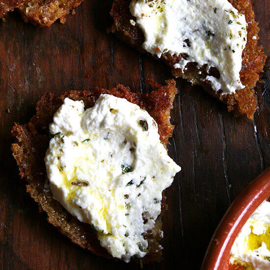 Ricotta with Thyme, Olive Oil & Grilled Bread