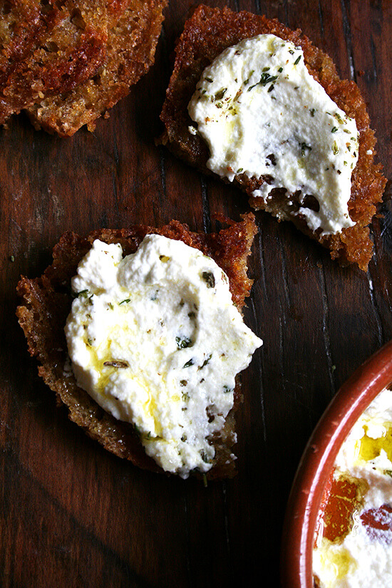 Fresh ricotta pairs so well with grilled bread -- there's something about the combination of cool and creamy with smoky and charred. These little embellishments go a long way, and if you've never tried any of them or haven't yet tried making homemade ricotta, try it now. // alexandracooks.com