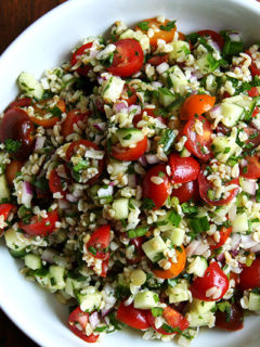 a bowl of tabbouleh