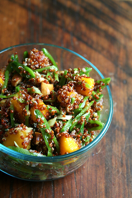 quinoa salad with snap peas, mango, lime & ginger