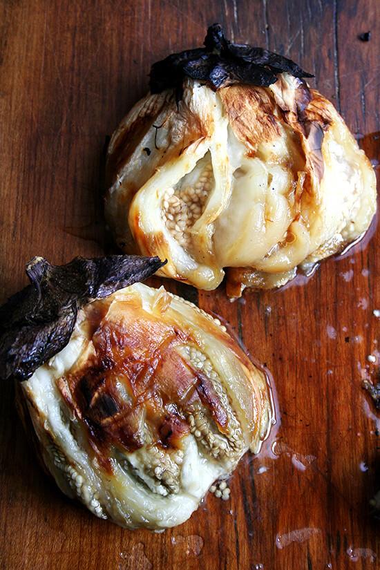 peeled eggplant