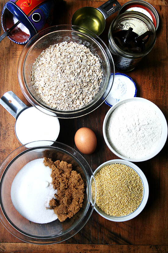 Ingredients to make millet muffins.