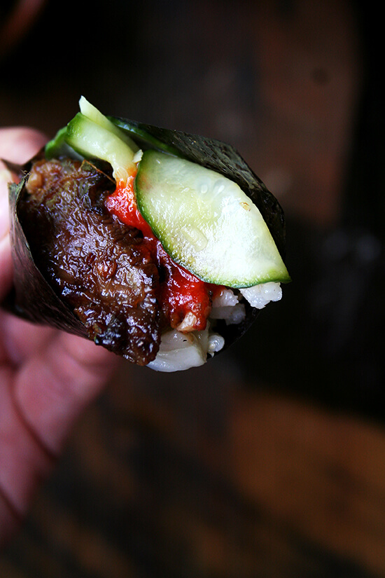 Creating Korean BBQ at home is surprisingly easy: a simple banchan — cucumber-apple pickle — comes together in no time and a bulgogi marinade can be made with pantry items. The rest — roasted seaweed and kimchi — can all be purchased. // alexandracooks.com