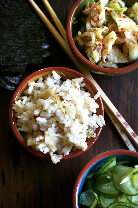 rice, kimchi, cucs