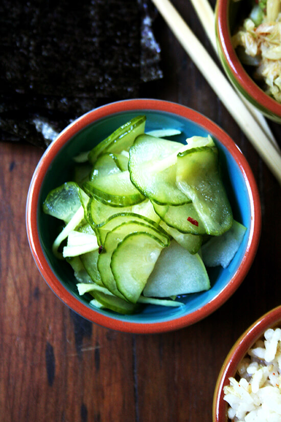 gingered cucumber-apple pickle