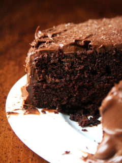 This chocolate cake, made with buttermilk and oil — no butter — and exclusively cocoa — no melted chocolate — is incredibly light and moist and stays this way — tasting freshly baked — for days. It's another Ina Garten recipe, one she begged for from a friend, the grandson of Beatty, after taking one bite. // alexandracooks.com